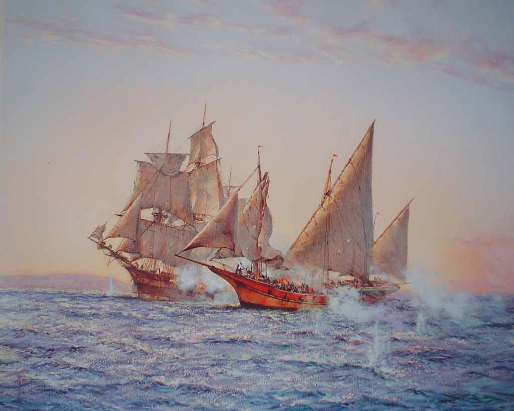 The Corsair by Montague Dawson - offset lithograph reproduction vintage fine art print