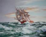 Dawn Chase by Montague Dawson - offset lithograph reproduction vintage fine art print