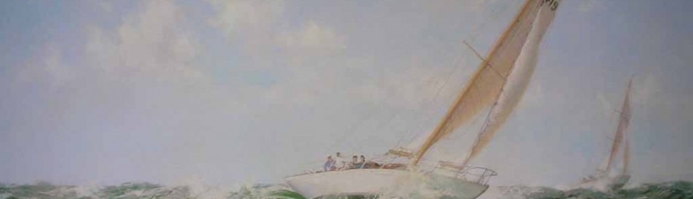 Salt Spray, The Yacht Mokota by Montague Dawson - offset lithograph reproduction vintage fine art print