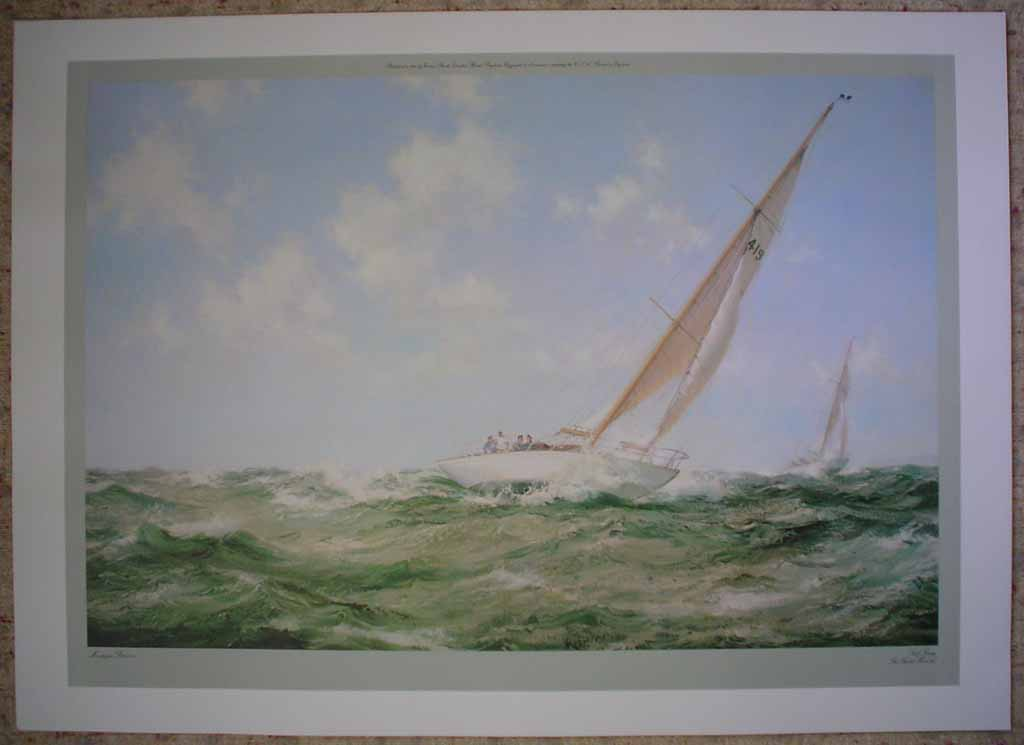 Salt Spray, The Yacht Mokota by Montague Dawson, shown with full margins - offset lithograph reproduction vintage fine art print