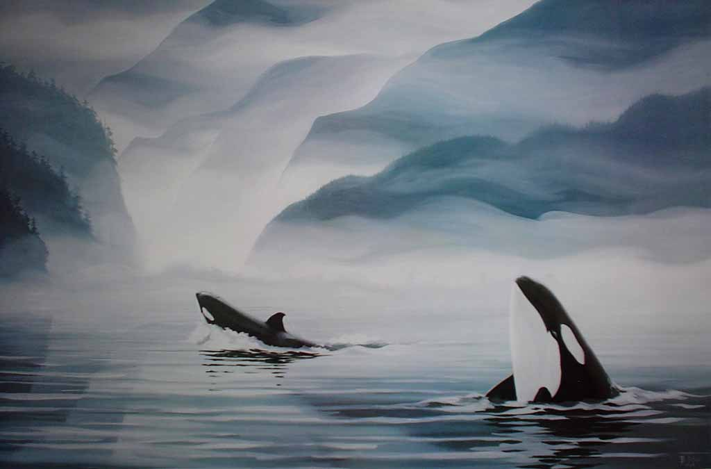 Indian Arm Orcas by Bruce Muir, numbered AP 22/37, titled and signed by artist - offset lithograph limited edition vintage fine art print
