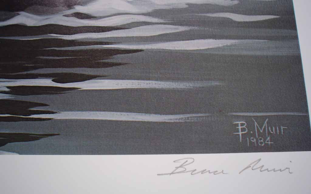 Indian Arm Orcas by Bruce Muir, numbered AP 22/37, titled and signed by artist, detail to show signature - offset lithograph limited edition vintage fine art print