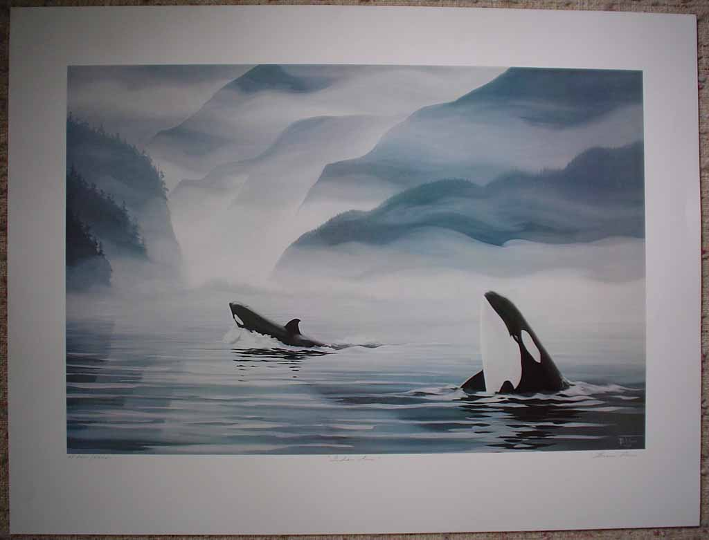 Indian Arm Orcas by Bruce Muir, numbered AP 22/37, titled and signed by artist, shown with full margins - offset lithograph limited edition vintage fine art print