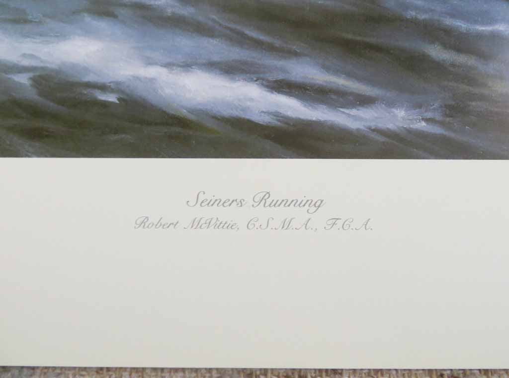 Seiners Running by Robert McVittie, numbered 109/950 and signed by artist, detail to show title - offset lithograph limited edition vintage fine art print