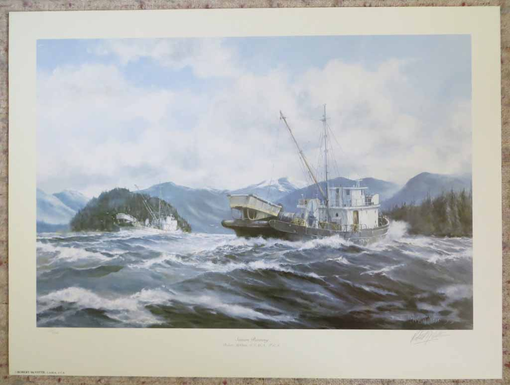 Seiners Running by Robert McVittie, numbered 109/950 and signed by artist, shown with full margins - offset lithograph limited edition vintage fine art print