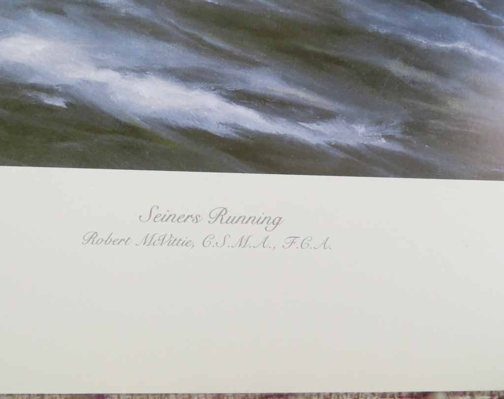 Seiners Running by Robert McVittie, numbered 110/950 and signed by artist, detail to show title - offset lithograph limited edition vintage fine art print