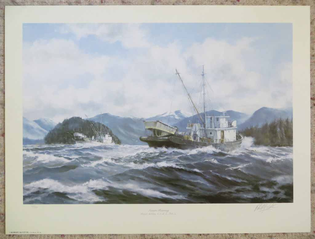Seiners Running by Robert McVittie, numbered 110/950 and signed by artist, shown with full margins - offset lithograph limited edition vintage fine art print