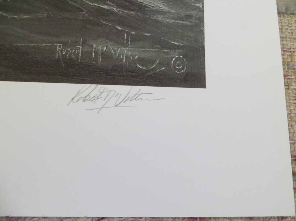 Bad Weather Coming by Robert McVittie, numbered 158/350, titled and signed by artist, detail to show signature - offset lithograph limited edition vintage fine art print