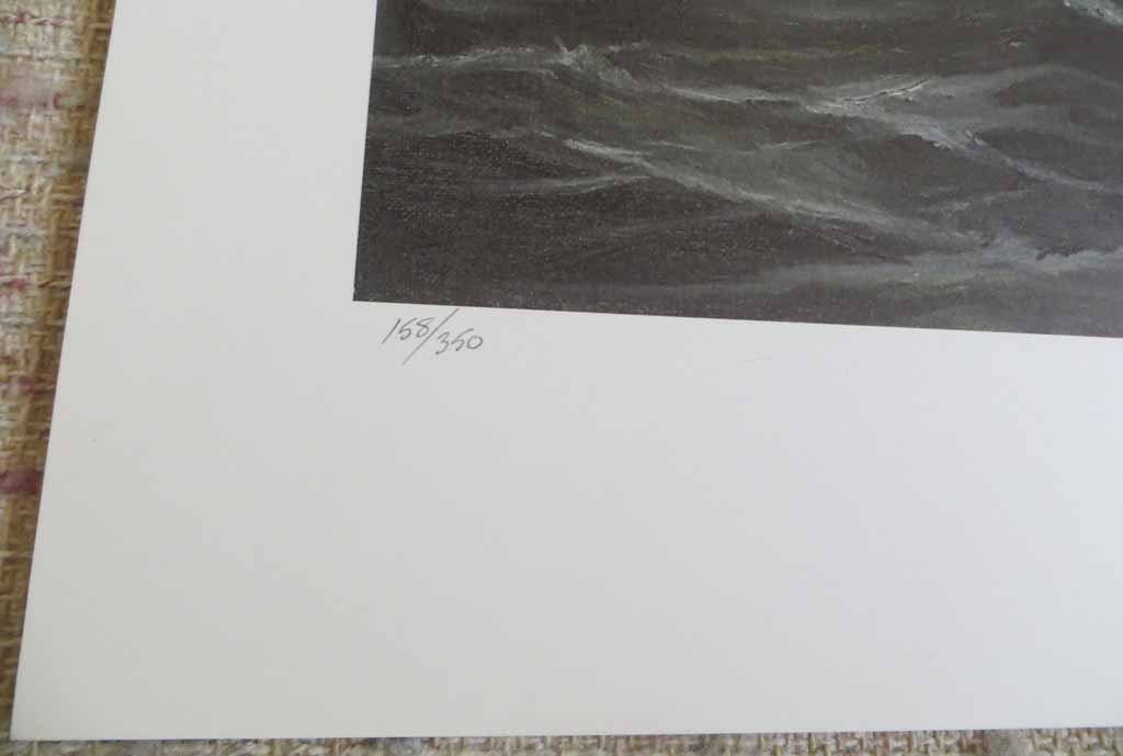 Bad Weather Coming by Robert McVittie, numbered 158/350, titled and signed by artist, detail to show edition - offset lithograph limited edition vintage fine art print
