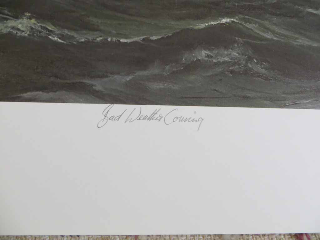 Bad Weather Coming by Robert McVittie, numbered 158/350, titled and signed by artist, detail to show title - offset lithograph limited edition vintage fine art print