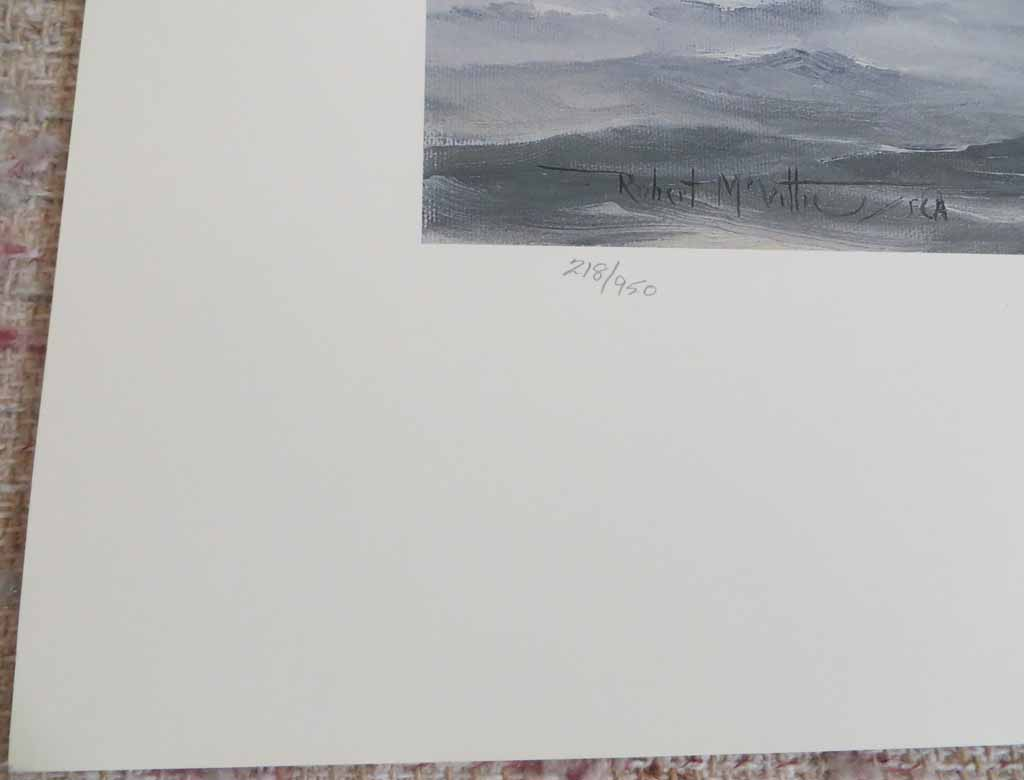 At The Edge Of The Fogbank by Robert McVittie, numbered 218/950 and signed by artist, detail to show edition - offset lithograph limited edition vintage fine art print
