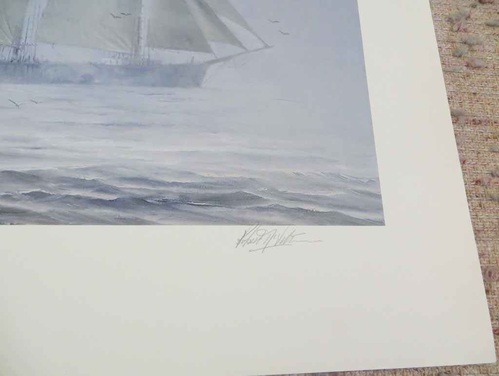 At The Edge Of The Fogbank by Robert McVittie, numbered 218/950 and signed by artist, detail to show signature - offset lithograph limited edition vintage fine art print