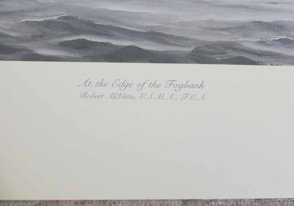 At The Edge Of The Fogbank by Robert McVittie, numbered 218/950 and signed by artist, detail to show title - offset lithograph limited edition vintage fine art print