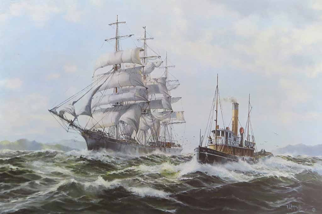 An Offshore Breeze by Robert McVittie, numbered 222/350, titled and signed by artist - offset lithograph limited edition vintage fine art print