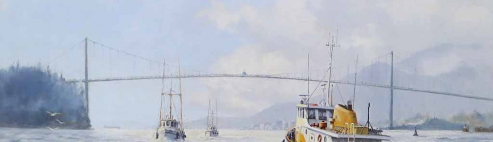 Lions Gate, British Columbia Gateway To The Pacific by Robert McVittie, numbered 487/550 and signed by artist - offset lithograph limited edition vintage fine art print