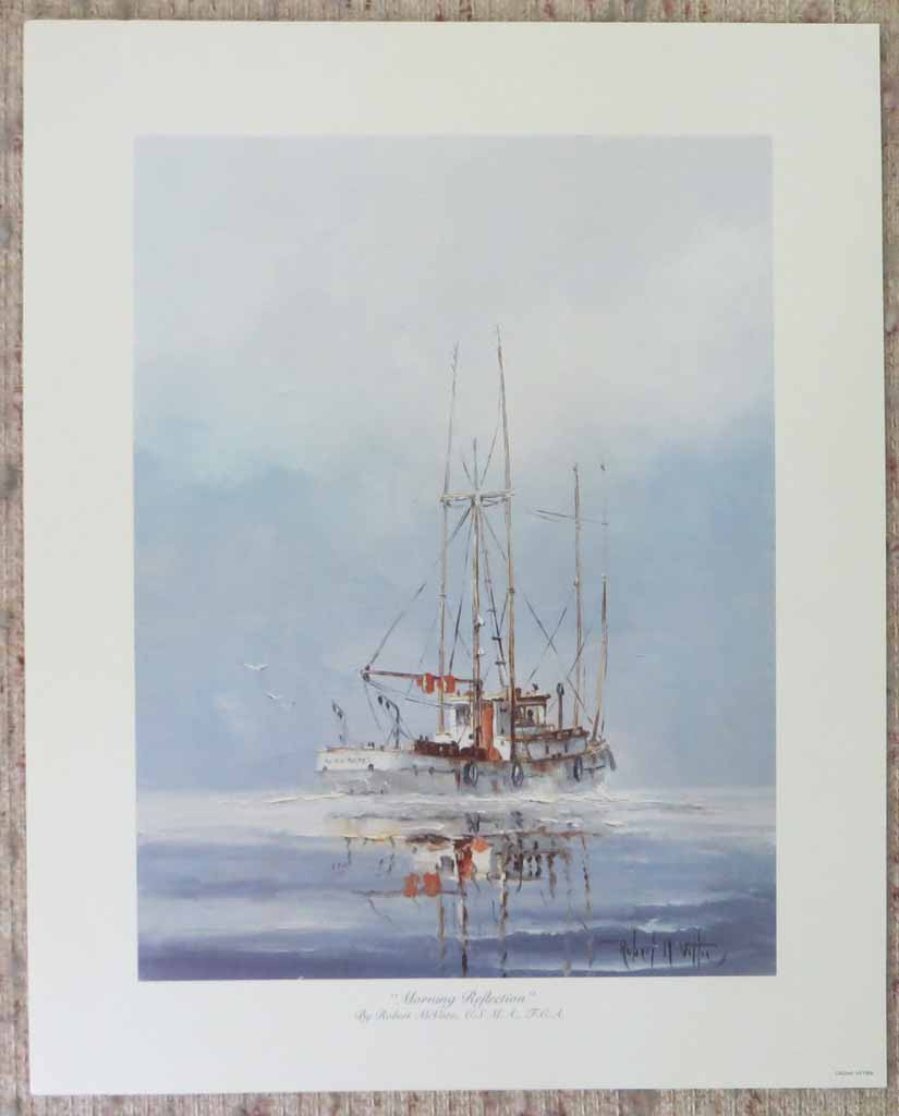 Morning Reflections by Robert McVittie, shown with full margins - offset lithograph reproduction vintage fine art print