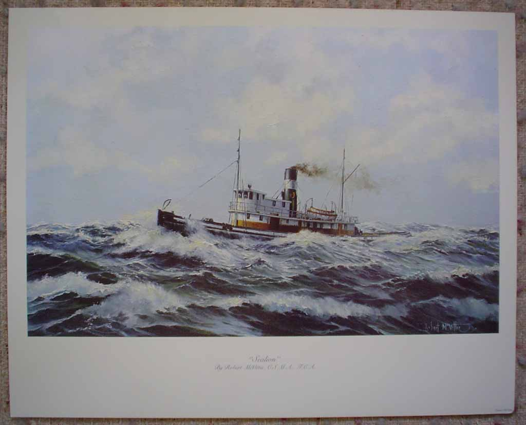 The Sealion by Robert McVittie, shown with full margins - offset lithograph reproduction vintage fine art print