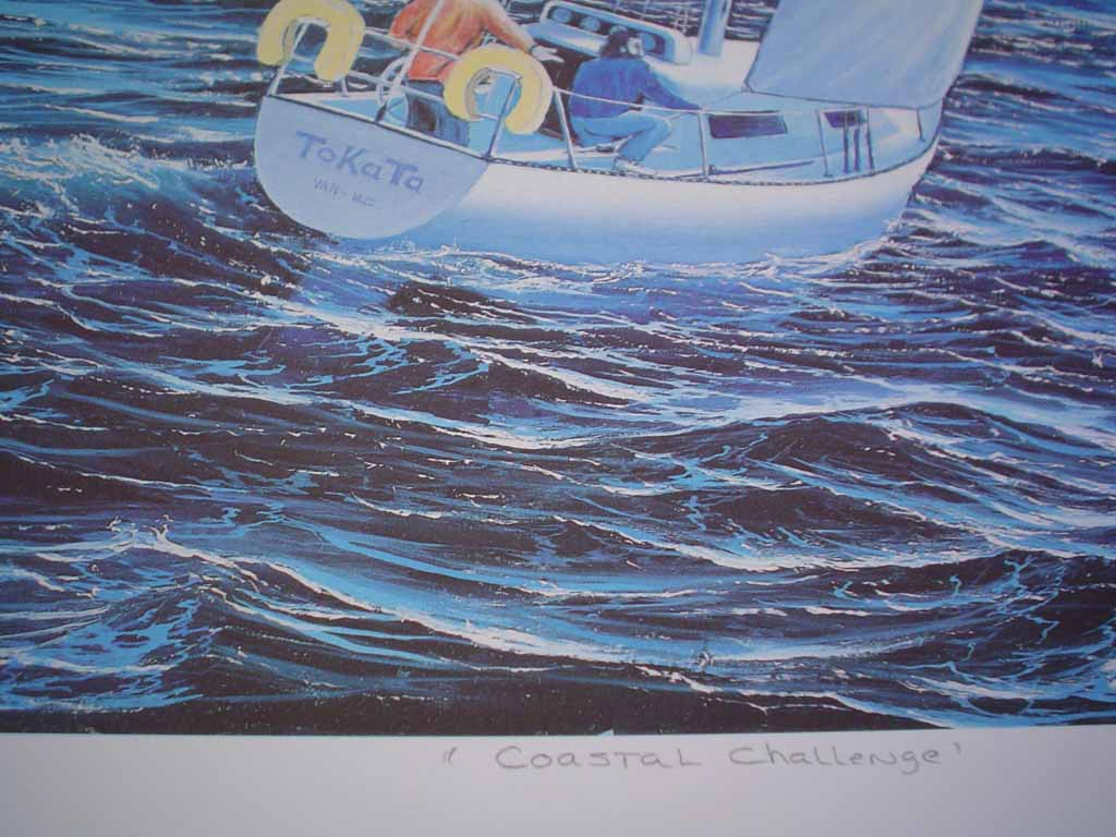 Coastal Challenge by Robert D. Stacey, signed and titled by artist, numbered 80/300, detail to show title - offset lithograph limited edition print fine art reproduction