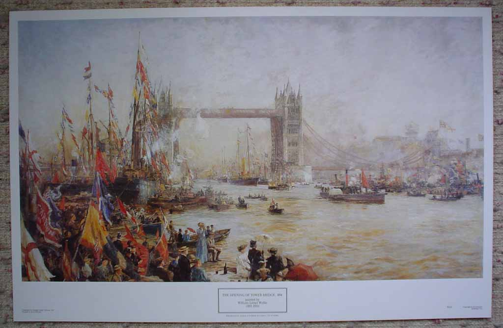 The Opening Of Tower Bridge 1894 by William Lionel Wyllie, shown with full margins - offset lithograph reproduction vintage fine art print