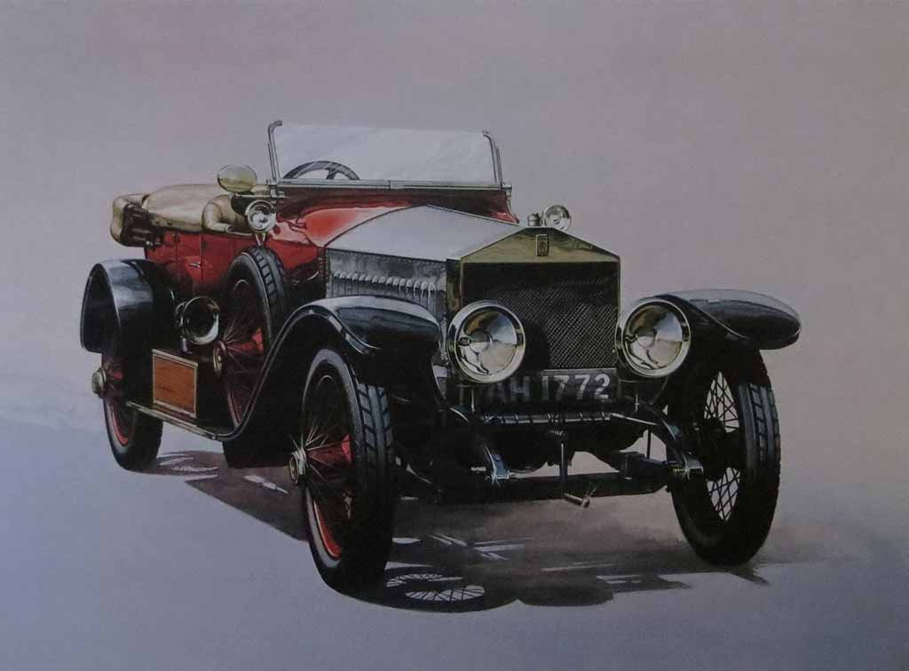 Rolls Royce Silver Ghost Alpine Eagle 1913 by M. Atkinson - offset lithograph reproduction vintage fine art print