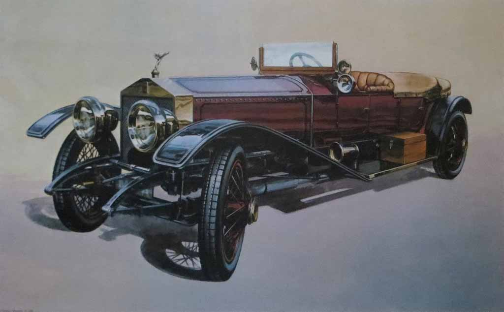 Rolls Royce Silver Ghost London To Edinburgh by M. Atkinson - offset lithograph reproduction vintage fine art print