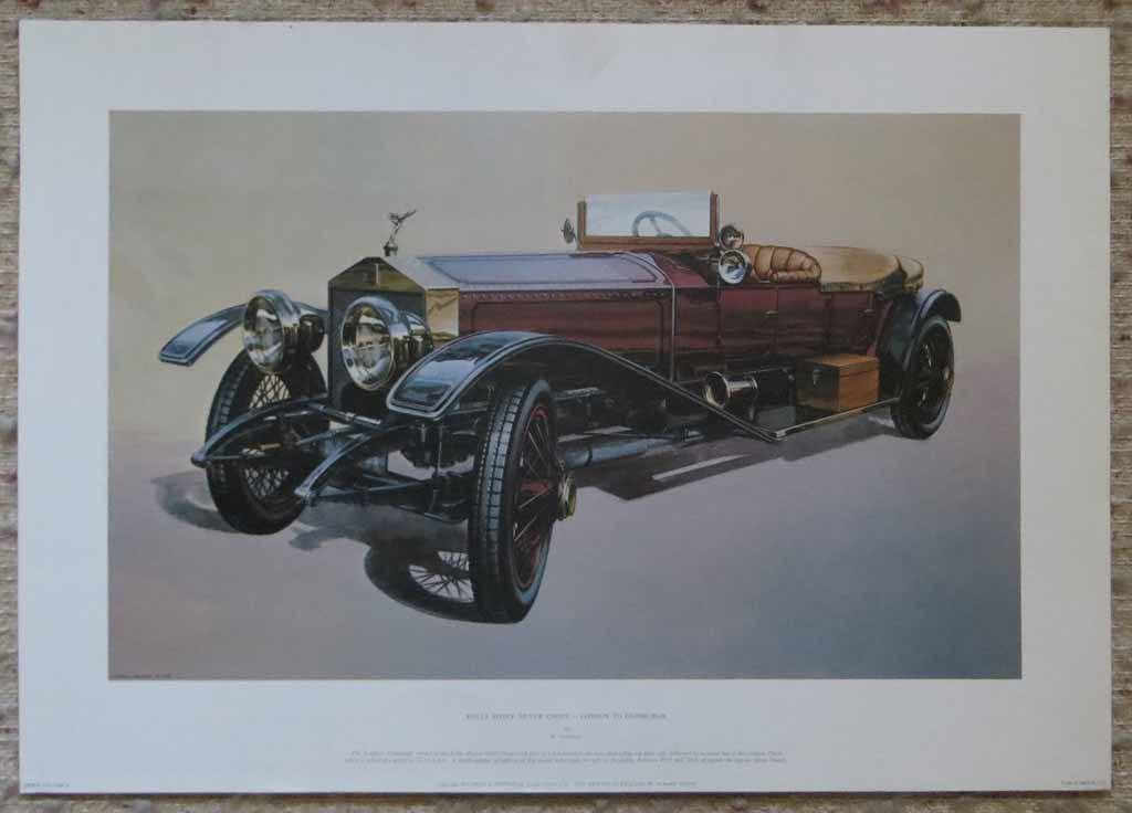 Rolls Royce Silver Ghost London To Edinburgh by M. Atkinson, shown with full margins - offset lithograph reproduction vintage fine art print