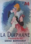 La Diaphane, Sarah Bernhardt by Jules Cheret, turn-of-the-century French Advertising Poster - offset lithograph reproduction vintage ©1976 poster art print