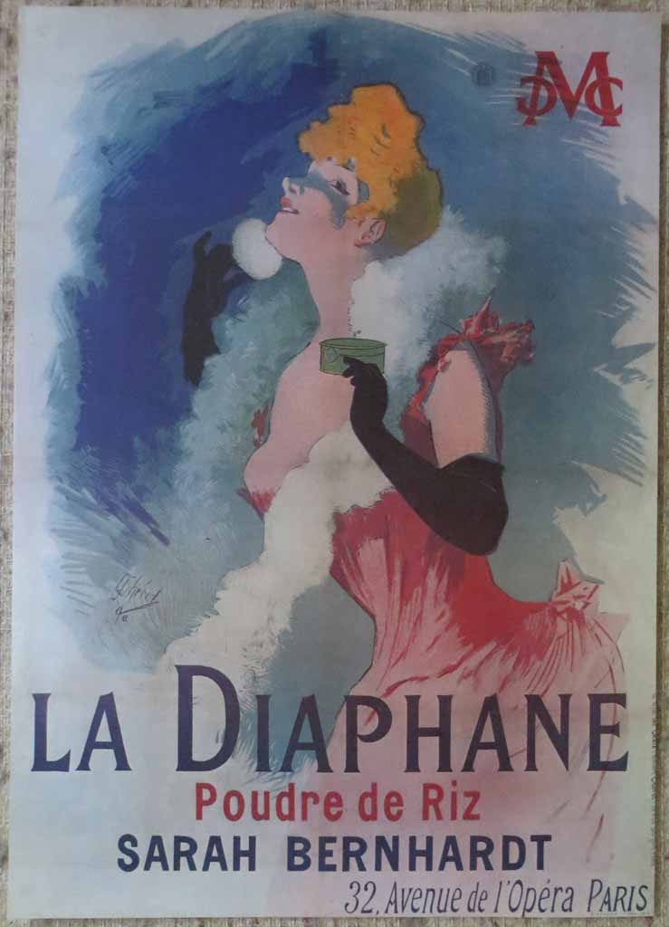 La Diaphane, Sarah Bernhardt by Jules Cheret, turn-of-the-century French Advertising Poster shown with full margins - offset lithograph reproduction vintage ©1976 poster art print