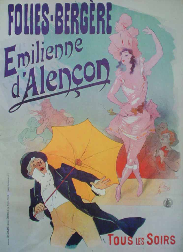 Folies-Bergere, Emilienne d'Alencon by Jules Cheret, turn-of-the-century French Advertising Poster - offset lithograph reproduction vintage ©1976 poster art print