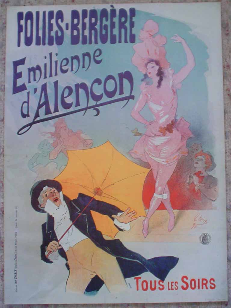 Folies-Bergere, Emilienne d'Alencon by Jules Cheret, turn-of-the-century French Advertising Poster shown with full margins - offset lithograph reproduction ©1976 poster art print
