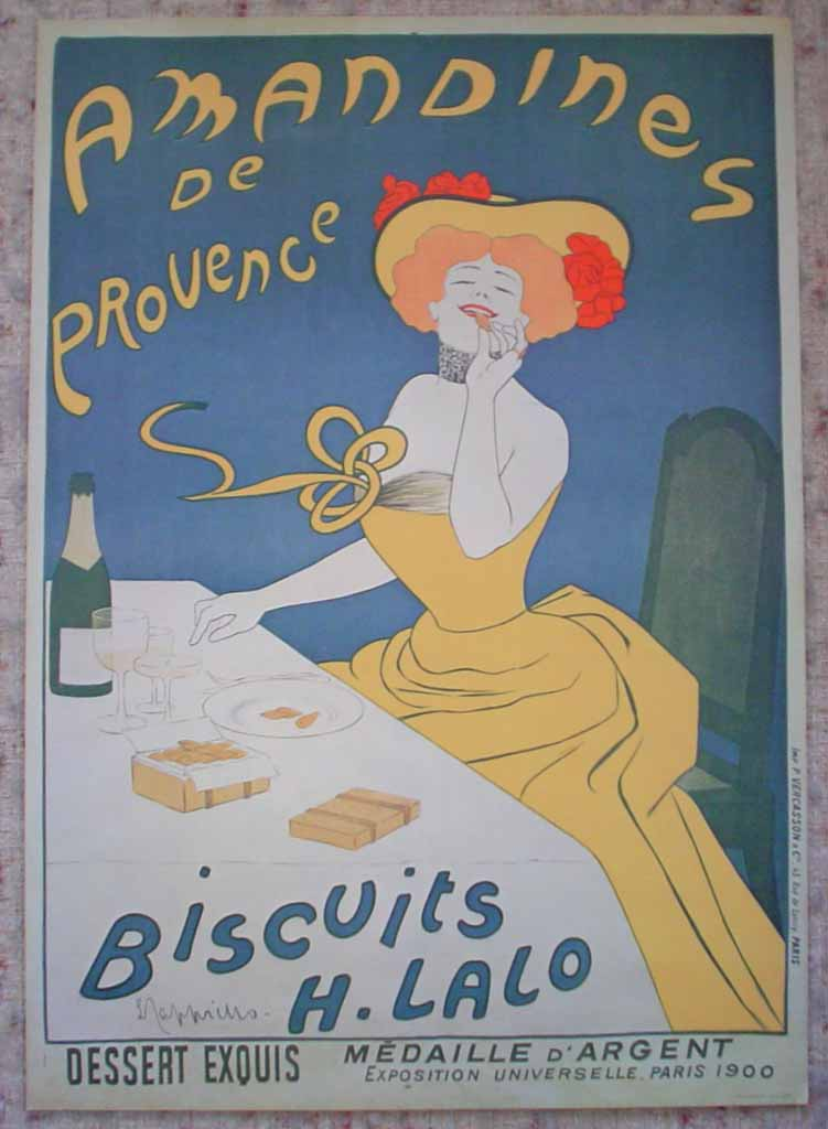 Amandines de Provence, Bisquits H. Lalo by Leonetto Cappiello, published by P. Vercasson, turn-of-the-century French Advertising Poster shown with full margins - offset lithograph reproduction vintage ©1978 poster art print