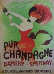 Pur Champagne by Leonetto Cappiello, published by P. Vercasson, turn-of-the-century French Advertising Poster - offset lithograph reproduction vintage ©1978 poster art print