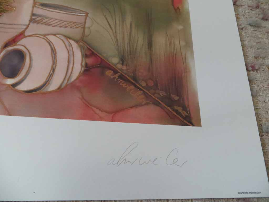 Bluehende Hortensien by Ahrweiler, signed by artist, published by Salz und Druck Contzen, detail to show artist signature - offset lithograph reproduction with metallic gold inserts vintage fine art print