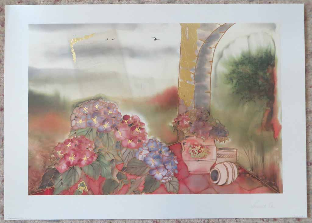 Bluehende Hortensien: Blooming Hydrangea by Ahrweiler, signed by artist, published by Salz und Druck Contzen, shown with full margins - offset lithograph reproduction with metallic gold inserts vintage fine art print