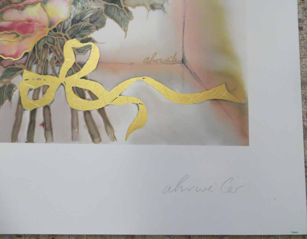 Poesie by Ahrweiler, signed by artist, published by Salz und Druck Contzen, detail to artist signature - offset lithograph reproduction with metallic gold foil inserts vintage fine art print