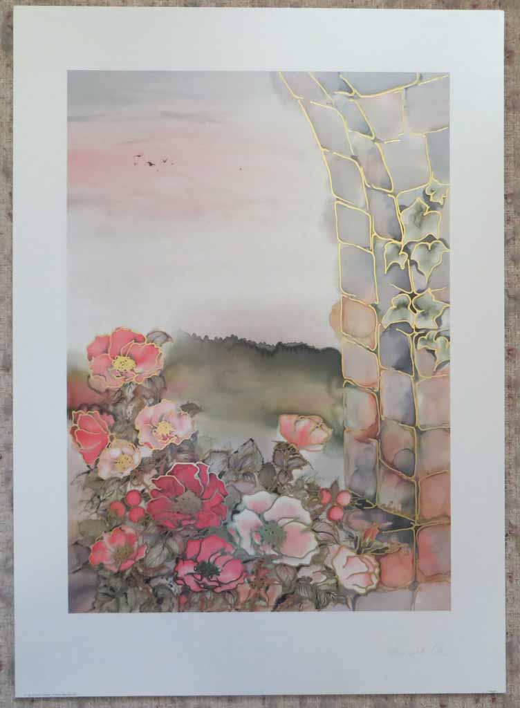 Ausblick by Ahrweiler, signed by artist, published by Salz und Druck Contzen, shown with full margins - offset lithograph reproduction with metallic gold foil inserts vintage fine art print