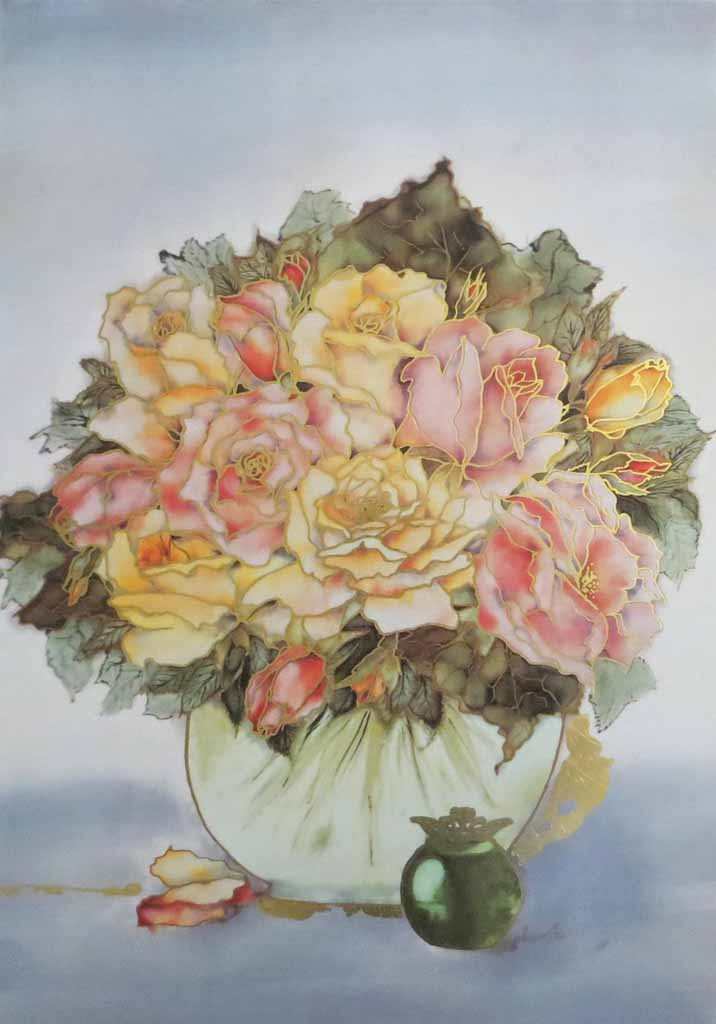 Rosenbouquet by Ahrweiler, signed by artist, published by Salz und Druck Contzen - offset lithograph reproduction with metallic gold foil inserts vintage fine art print