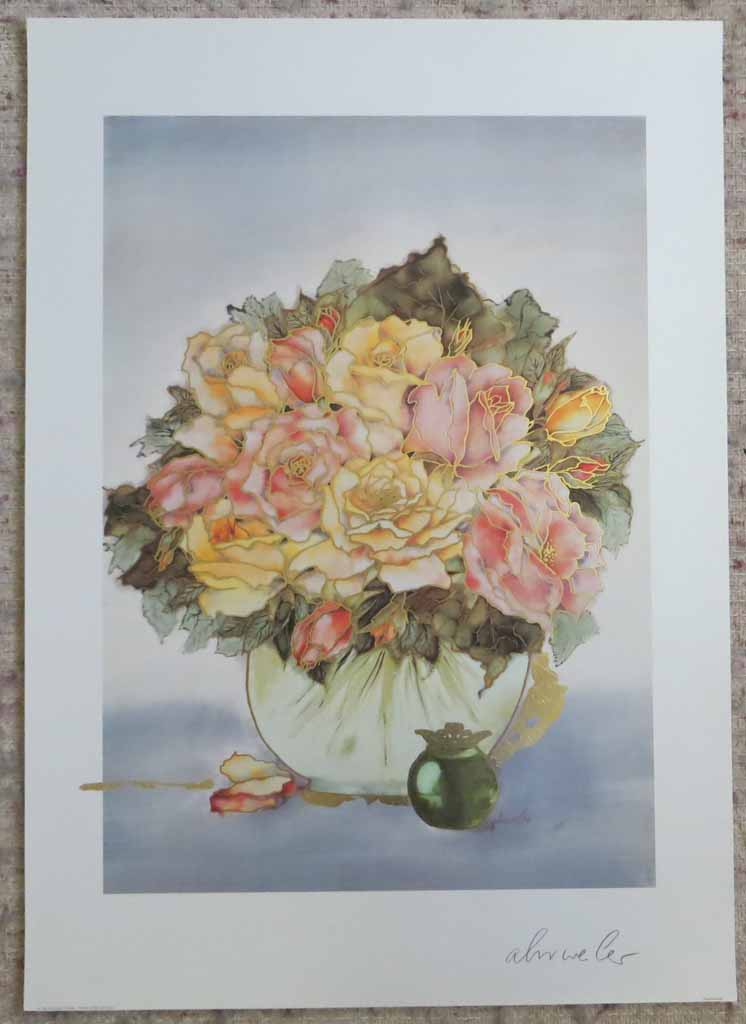 Rosenbouquet by Ahrweiler, signed by artist, published by Salz und Druck Contzen, shown with full margins - offset lithograph reproduction with metallic gold foil inserts vintage fine art print