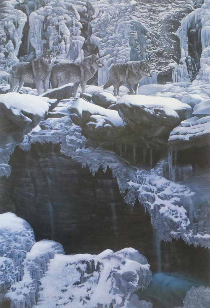 Icy Traverse, Wolves by Fred Buchwitz - offset lithograph reproduction vintage fine art print