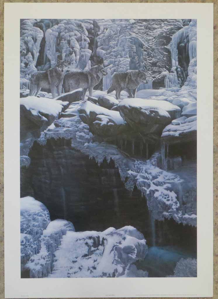 Icy Traverse, Wolves by Fred Buchwitz, shown with full margins - offset lithograph reproduction vintage fine art print