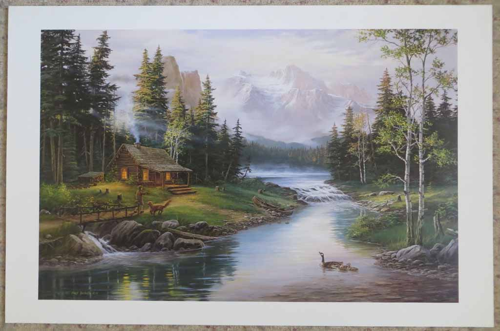 Mountain Lake Cabin Idyll (untitled) by Fred Buchwitz, shown with full margins - offset lithograph reproduction vintage fine art print