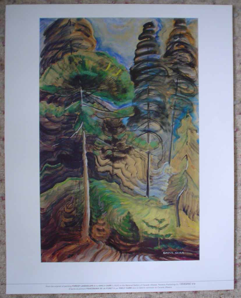 Forest Landscape II by Emily Carr, shown with full margins - offset lithograph reproduction vintage fine art print