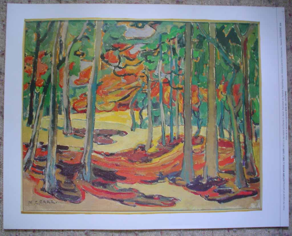 Autumn Woods by Emily Carr, shown with full margins - offset lithograph reproduction vintage fine art print
