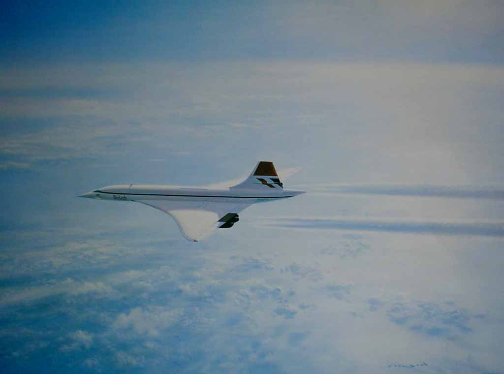 British Aerospace Concorde by Gerald Coulson - offset lithograph reproduction vintage fine art print