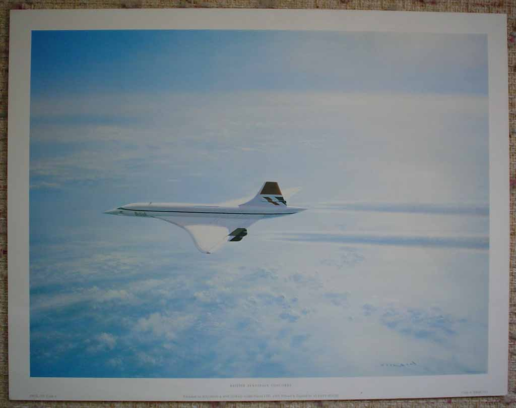 British Aerospace Concorde by Gerald Coulson, shown with full margins - offset lithograph reproduction vintage fine art print