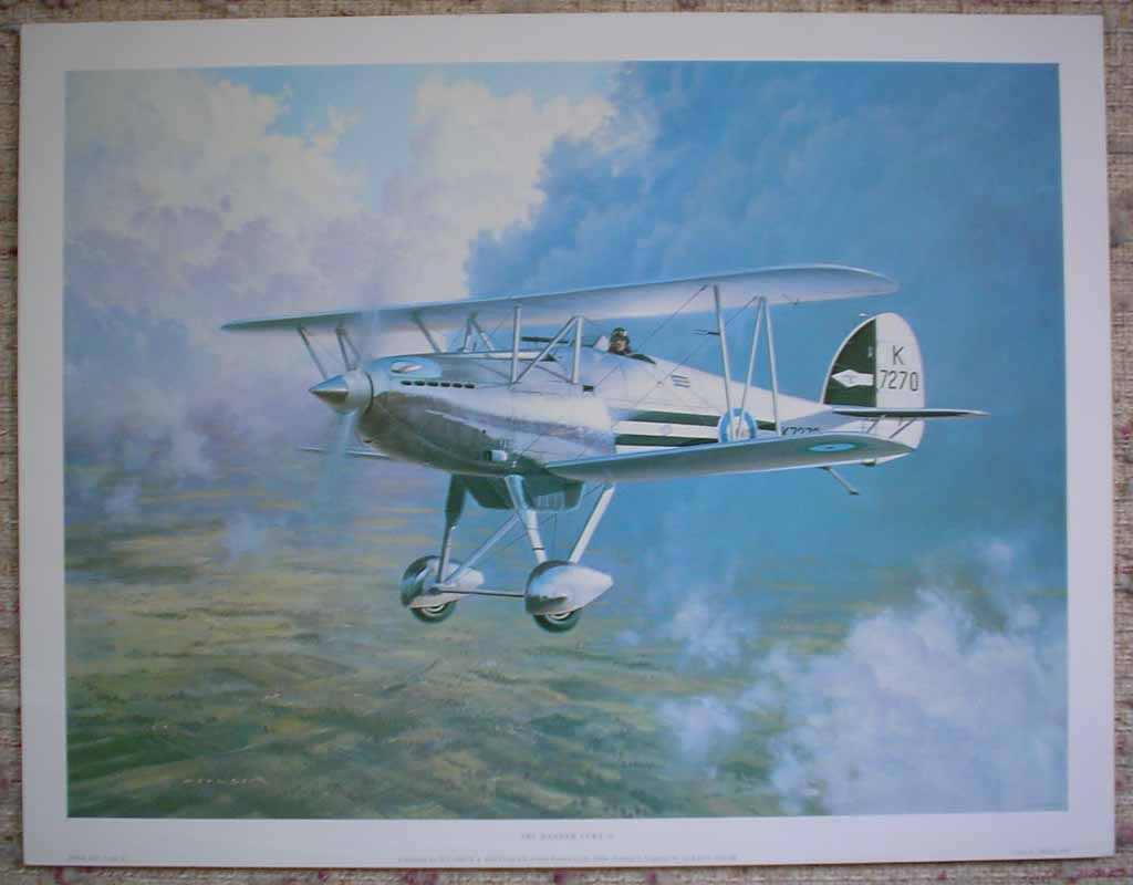 Hawker Fury II by Gerald Coulson, shown with full margins - offset lithograph reproduction vintage fine art print