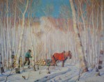March In The Birch Woods by Clarence Alphonse Gagnon - offset lithograph reproduction vintage fine art print