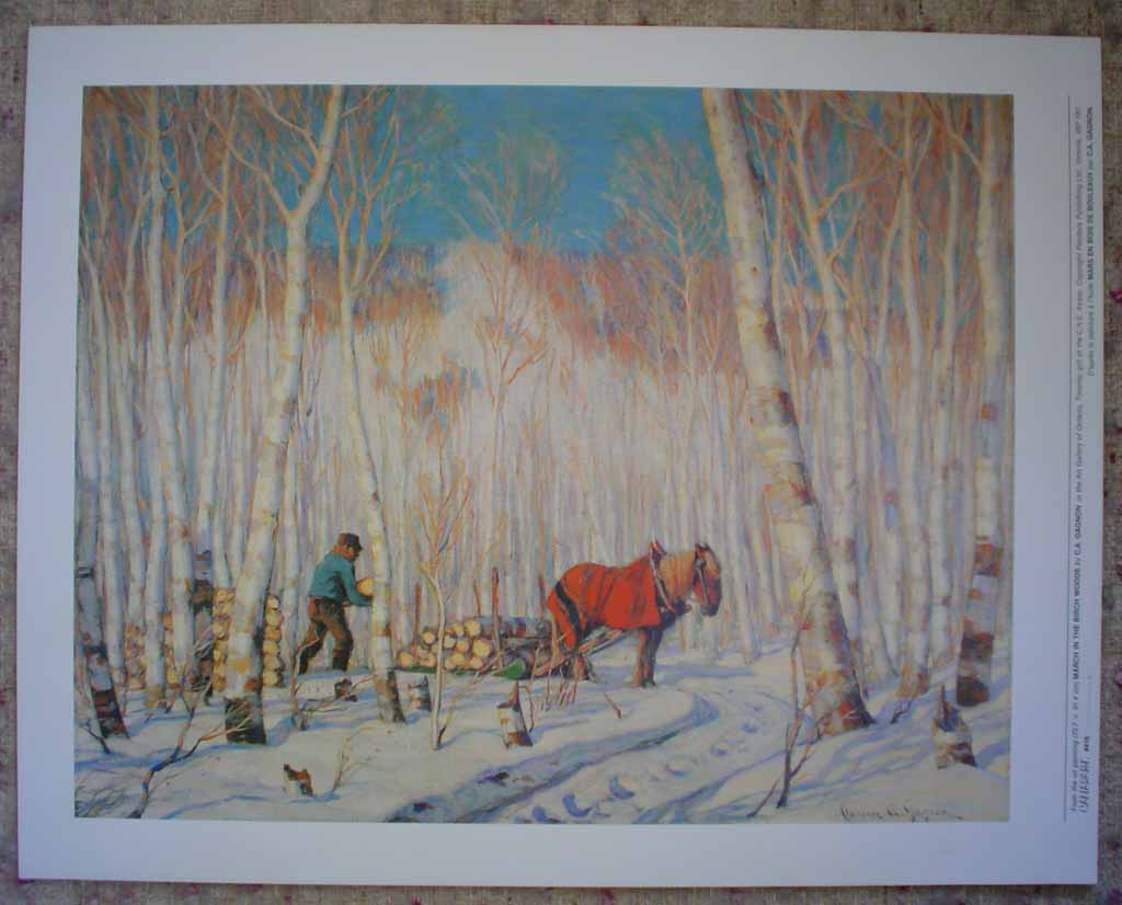 March In The Birch Woods by Clarence Alphonse Gagnon, shown with full margins - offset lithograph reproduction vintage fine art print