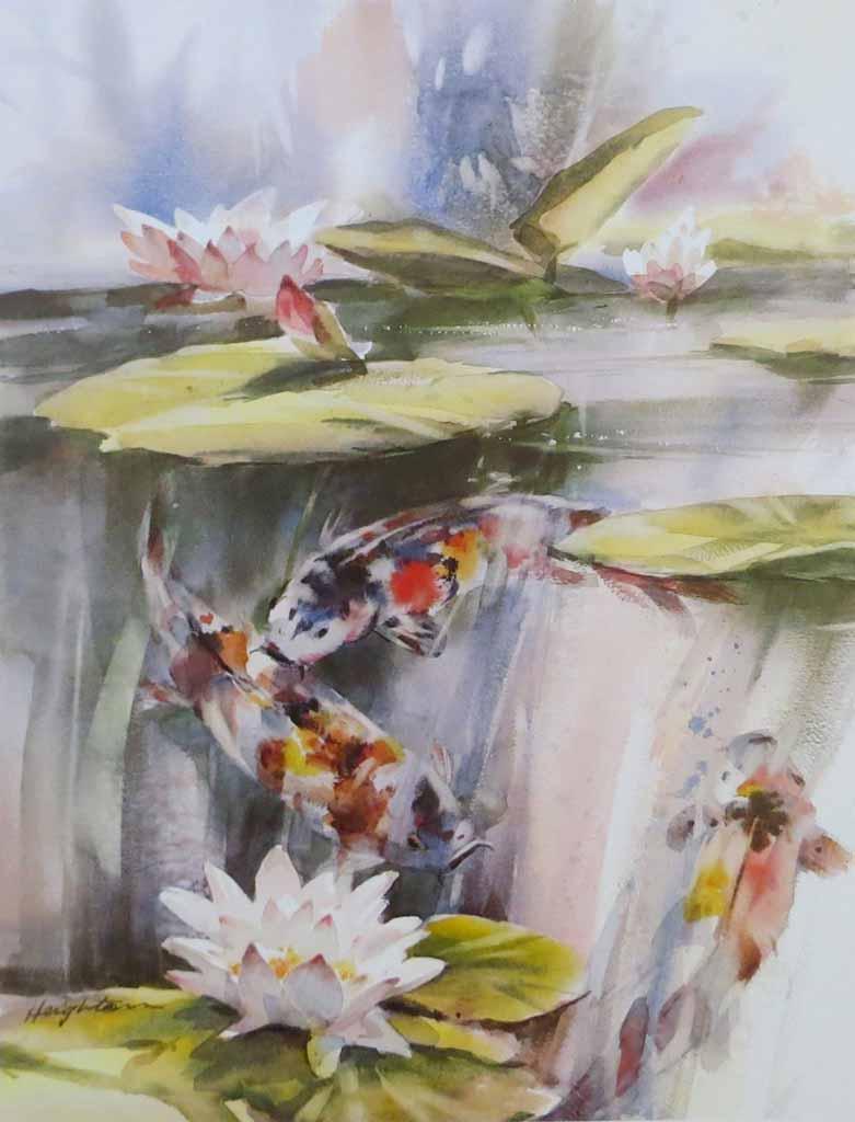 A Shimmer Of Light: Koi Fish by Brent Heighton - offset lithograph reproduction vintage fine art print