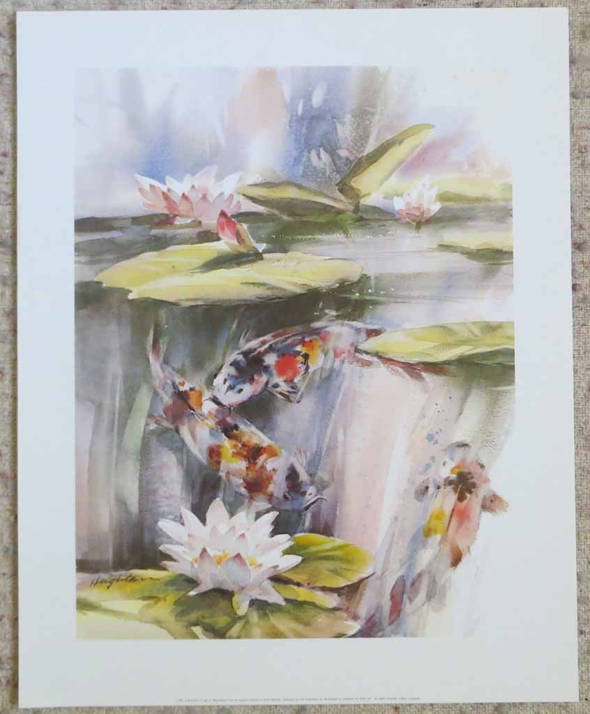 A Shimmer Of Light: Koi Fish by Brent Heighton, shown with full margins - offset lithograph reproduction vintage fine art print